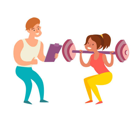Woman with dumbbells squats and coach. Weight loss healthy lifestyle concept. Trainer in the gym art. Isolated vector illustration on white background