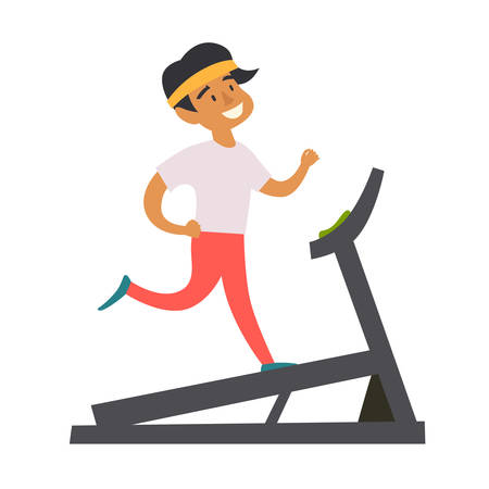 Young man running on a treadmill. Cardio in the gym. Happy athlete boy character cartoon style. Isolated vector illustration on white background 일러스트