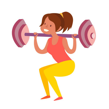 Woman with dumbbells squats. Weight loss healthy lifestyle concept. Isolated vector illustration on white background Illusztráció