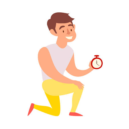 Coach with timer on white background vector illustration. Personal fitness instructor. Motivating man character at the gym cartoon style  イラスト・ベクター素材