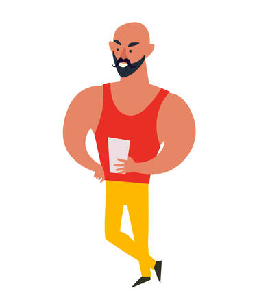 Muscular man trainer on white background vector illustration. Male character with notebook for workouts. Motivating people at the gym cartoon style