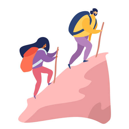 Climbing a mountain vector illustration. Man and woman with backpack hiking cartoon style, isolated on white background