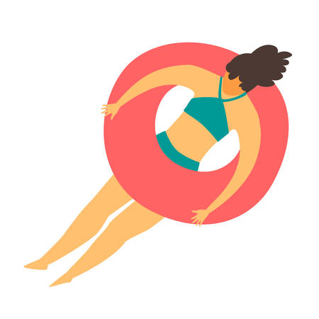 Woman swimming in the pool on rubber rings vector illustration. Girl swimming in the sea. Woman relaxes, summer holiday rest. Summer relax and outdoor activities. Flat cartoon style, isolated on white background