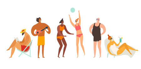 Beach outdoor activities vector illustration. Man reading book and plays ukulele. Woman playing volleyball and sunbathing on the beach. Summer holiday relax concept. Flat cartoon retro style, isolated