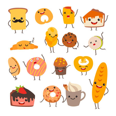 Funny bakery menu vector illustration. Cake characters with cute faces set. Smiley cheesecake and culinary collection. Emotional food comic set. Bakery icon, isolated on white background