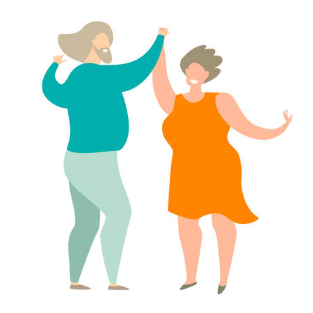 Elderly people dancing vector illustration. Happy man and woman dancing romance dance. Couple of seniors dancing character. Grandparents Day. Flat retro cartoon style, isolated on white background Stock Illustratie