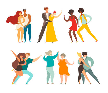 Social pair dancing vector illustration. Happy people dancing. Couple of dancers character. Romantic modern dance: bachata, tango and waltz. Salsa  samba  zouk party. Flat retro cartoon style, isolated