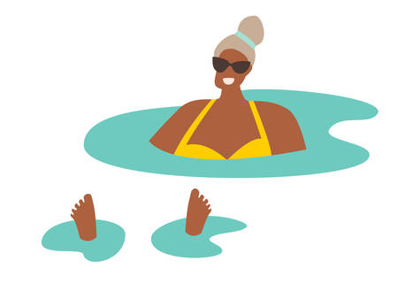 Woman relaxes in the pool / ocean vector illustration. Black adult woman swimming in the sea. Tanned beautiful madam relaxes, summer holiday rest. Summer relax and outdoor activities. Flat cartoon style, isolated on white background