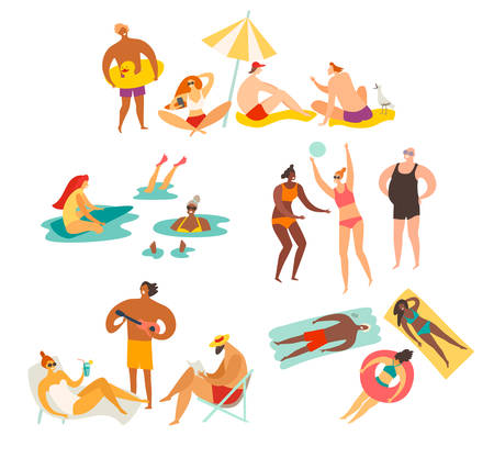 Beach outdoor activities vector collection illustration. Girl doing selfie, people talking and relax, woman sitting on beach chair.Summer holiday relax concept. Isolated on white on white background