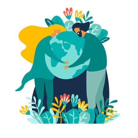 Man and woman taking care of Earth and saving planet vector illustration. Happy Earth Day International Holiday. Nature Protection, ecology support concept. Cartoon card isolated on white background Ilustração Vetorial