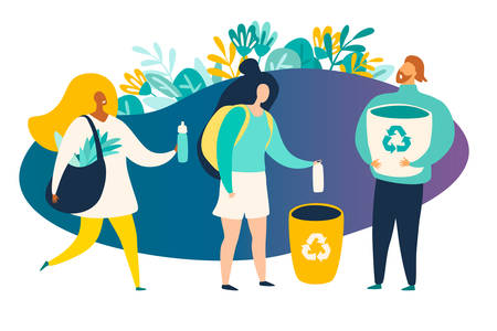 Recycle, ecological lifestyle vector illustration. Zero waste concept. Happy eco friendly woman with a canvas shopping bag. Woman throws trash in the trash can. Man with recycling basket