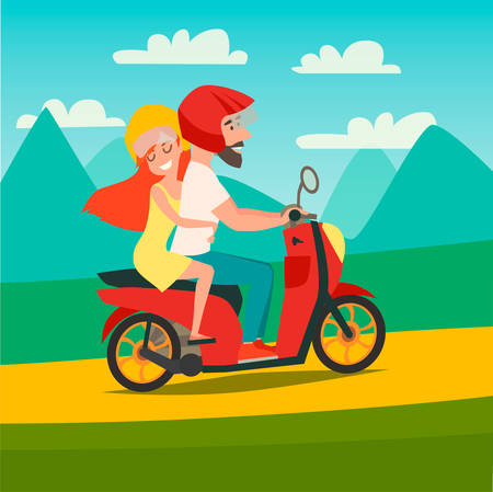 Summer trip by motorbike vector illustration. Happy man and woman on summer holidays. Cartoon character loving couple on motorbike trip. Mountains background, tourism concept card Illustration