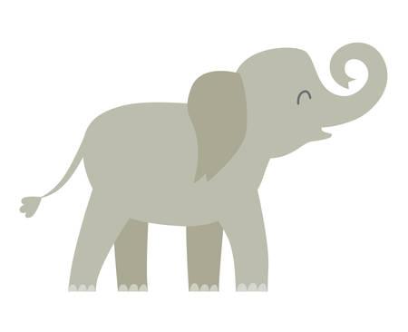 Elephant vector illustration. Sri Lanka asian happy elephant. Cartoon animal character. Isolated icon on white background