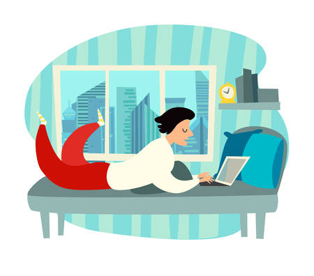 Freelancer character with laptop working on home vector. Freelancer man wearing pajamas doing online work, bedroom workplace. Cartoon style drawing square illustration
