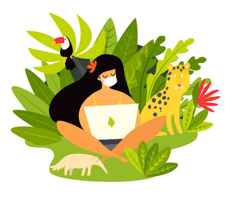 Self-isolation woman working vector illustration. Coronavirus epidemic concept. Isolation at tropic, Coronavirus pandemic. Person cannot fly out of the country and forced to work in wild jungle