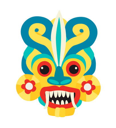 Sri Lankan devil dancing mask vector illustration. Sri Lanka landmarks vector ilustration. Ethnic traditional dancer spiritual mask colorful art sign. Scary horror face with teeth .Isolated icon on white Çizim