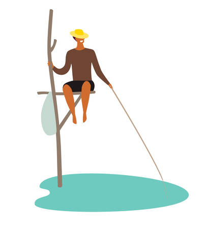 Sri Lanka fisherman vector illustration. National tourist attraction sign. Asian fisherman on the sea. Cartoon flat character isolated on white background