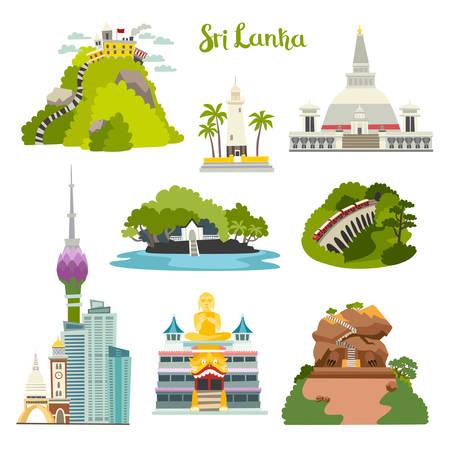 Sri Lanka island vector illustration collection. Ceylon architecture. Colombo skyline, Sigiria and Nine arches bridge. Buddhist stupa temple.Galle lighthouse Adam's Big Peak.Cartoon set isolated on white