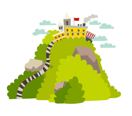 Big peak with fabulous city vector illustration. Fantastic green mountain Lanka cartoon style. Fantastic archticture and forest landscape. Isolated drawing icon on white background
