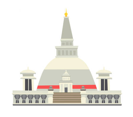 Buddhist stupa vector illustration. Historic famous temple. Asian architecture, traditional buddhist temple at Sri Lanka. Isolated icon on white background
