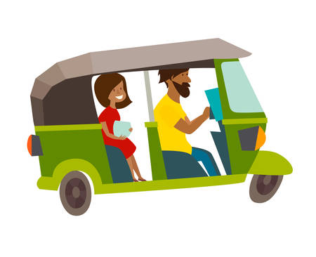 Asian taxi tuktuk vector illustration. Asian local man drive tuk-tuk. Sri Lanka, Thailand, Indian transport cartoon flat card, isolated on white background Stock Illustratie