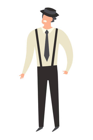 Italian Mafia character cartoon style. Man in suspenders and hat. Hand drawn isolated icon on white background