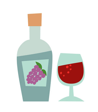 Bottle of wine and a glass cartoon style. Hand drawn isolated icon on white background