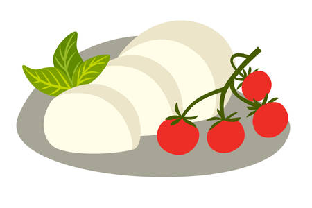 Cheese Buffalo mozzarella vector illustration. Mozzarella slice with basil and tomato cherry. Cartoon style icon, isolated on white background Stock Illustratie