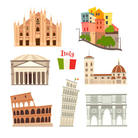 Italy landmarks vector icons set. Illustrated travel collection. Italian Sardinia island cartoon style. Milan Cathedral and Pisa Tower. Coliseum, Rome drawn art sign. Isolated on white background Stockfoto - 145119834