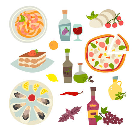 Italian food vector icons set. Italian cousine collection: pasta, pizza, olive oil, vine and oysters cartoon style. Moscarella and tiramisu. Isolated on white background