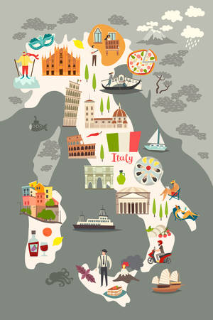 Italy poster. Cartoon map of Italy for kid / children. Italian landmarks vector cute poster. Illustrated card. Italian mozzarella and pizza, travel attractions and landmarks