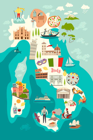 Italy map vector. Illustrated map of Italy for children / kid. Cartoon abstract atlas of Italy with landmark and traditional cultural symbols. Travel attraction icon