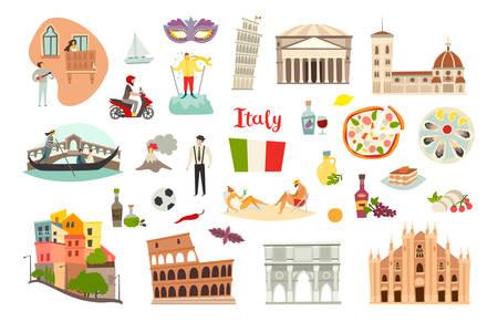 Italy landmarks vector set. Isolated on white background