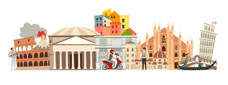 Italy skyline colorful background. Famous Italy building. Italy hand drawn vector illustration. Italian travel landmarks / attraction. Vector illustration isolated on white background