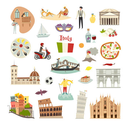 Italy landmarks vector icons set. Illustrated travel collection. Italian Sardinia island cartoon style. Milan Cathedral and Pisa Tower. Coliseum, Rome drawn art sign. Isolated on white background