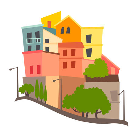 Sardinia abstract panorama vector illustration. Colored buildings skyline Italian street. Italy's Sardina architecture. Isolated drawing icon on white background