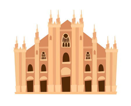 Milan cathedral, Italy architecture landmark vector illustration. Milan, old Italian building. Ancient architectural monuments. Famous historical landmark. Hand drawn isolated icon on white background