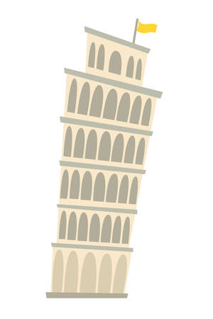 Pisa Tower, Italy architecture landmark vector illustration. Pisa, old building. Ancient architectural monuments. Famous historical landmark. Hand drawn isolated icon on white background Çizim