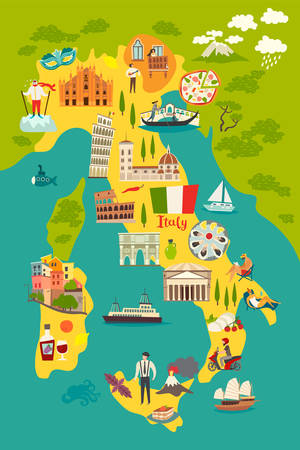 Italy map vector. Illustrated colored map of Italy. Cartoon abstract atlas of Italy with landmark: Coliseum, The Rome Cathedral, Milan Cathedral and Pisa Tower. Gondola on canal grande, venetian mask