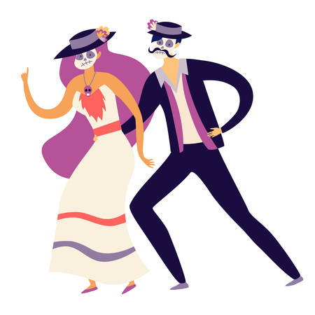 Mexican people dancing on Mexican Mexican Death's Day vector illustration. Man and woman with skull makeup. Isolation icon on white background