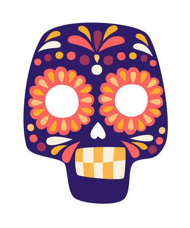 Mexican skull vector illustration. Smiling human skull drawing cartoon sign. Yellow and purple colors skull isolation on white background