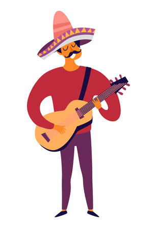 Mexican musician playing guitar vector illustration. Drawing cartoon man with mexican traditional hat sombrero. Colorful drawings mexican man isolation on white background