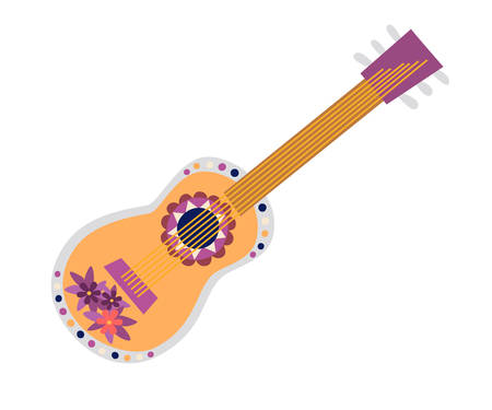 Mexican guitar vector illustration. Drawing cartoon sign. Colorful drawings traditional guitar with mexican ornament isolation on white background
