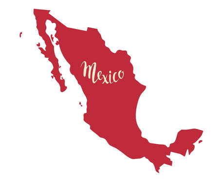 Mexico map contour vector illustration. Drawing cartoon sign. Red color map with Mexico text, isolation on white background Çizim