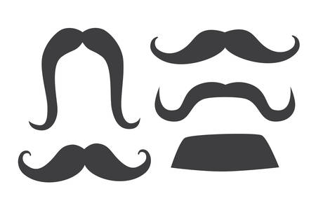 Mustache set vector illustration. Mustache contour gray color. Isolation icon on white background Çizim