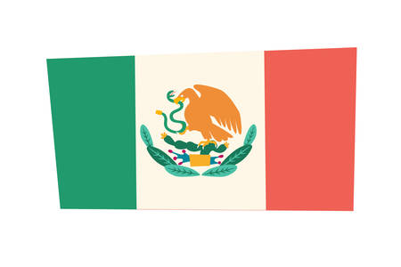 Mexican flag vector illustration. Drawing cartoon flag with eagle and cactus. Colorful drawn sign isolation on white background