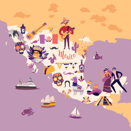 Mexico map cartoon style vector illustration. Mexico with traditional symbols and decorative elements. Abstract travelers map poster. Hand draw colorful illustrations background Çizim