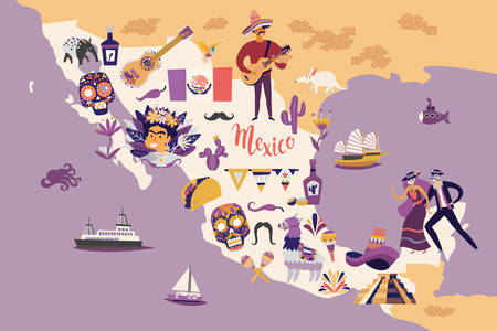 Mexico map vector illustration. Mexican background. Travel abstract map. Wall art, poster for children's room. Hand draw colorful illustration background cartoon style