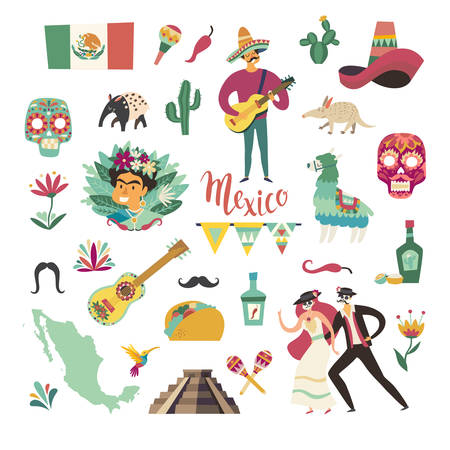 Mexican collection vector illustration. Mexico symbols and landmarks. Colorful drawings icon about Mexico isolation on white background