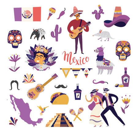 Mexican symbols objects vector illustration. Sweet skull and tequila, mustache and sombrero. Mexican guitarist and llama. Colorful drawings icon about Mexico isolation on white background Çizim